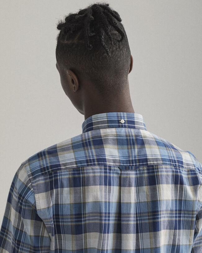 Regular fit kortärmad indisk madrasrutig skjorta