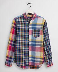 Regular Fit Mixed-Panel Madras Linen Shirt