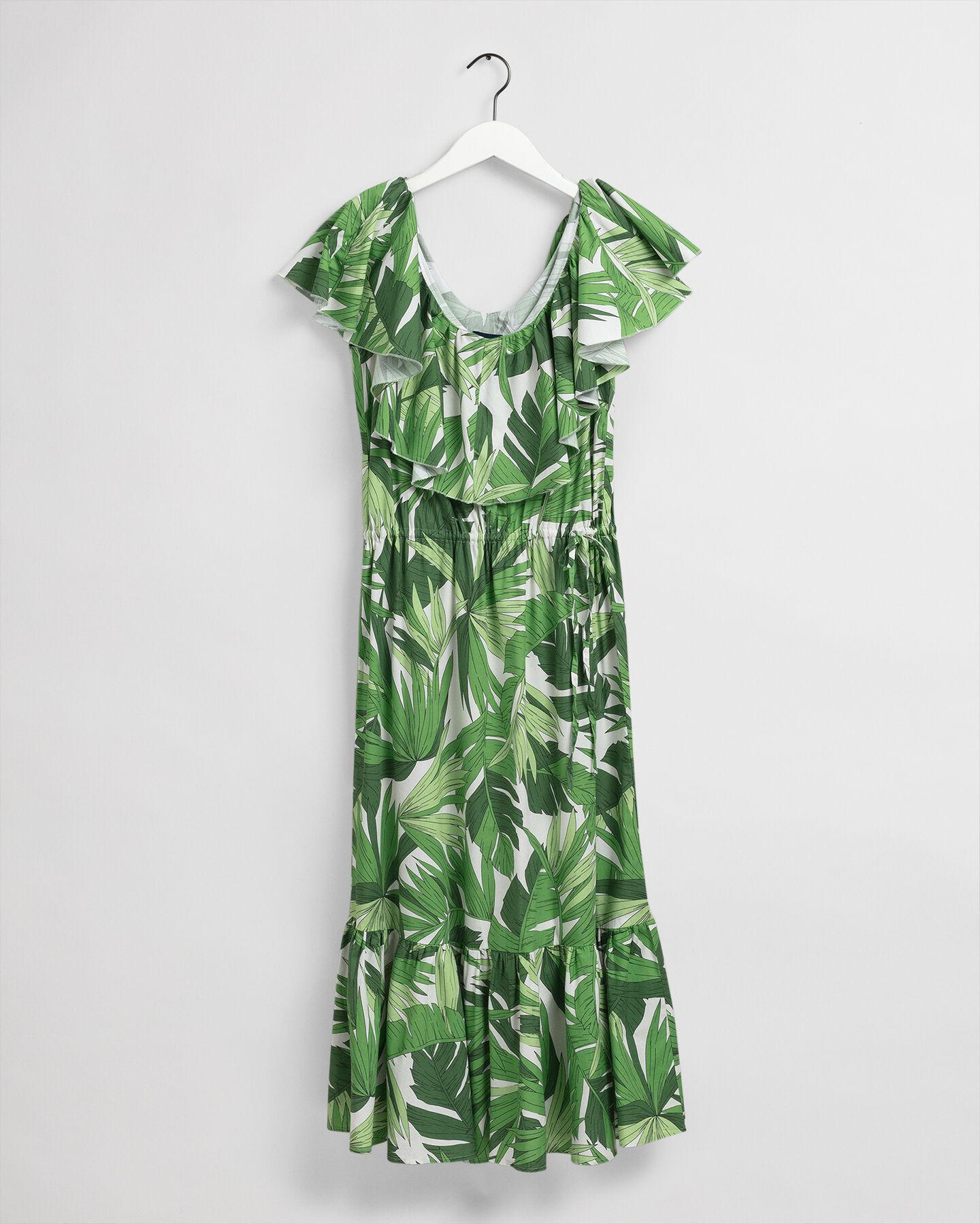 Palm Breeze mönstrad klänning med krås