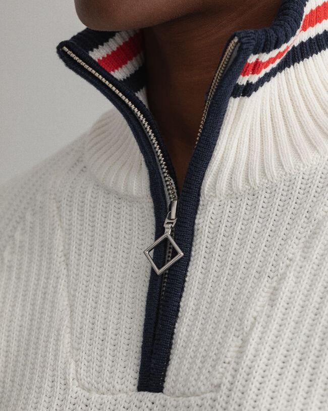 Rough Weather ribbstickad tröja med halv dragkedja