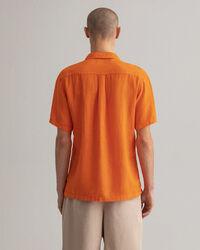 Regular fit skjorta i linne med riviera-krage