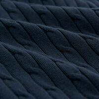 Flätstickad rundhalsad bomullströja med stretch