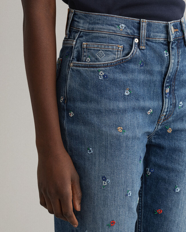 Straight Leg High-Waisted Cropped Embroidered Jeans