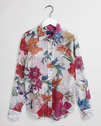 Humming Floral mönstrad skjorta i bomull och silke