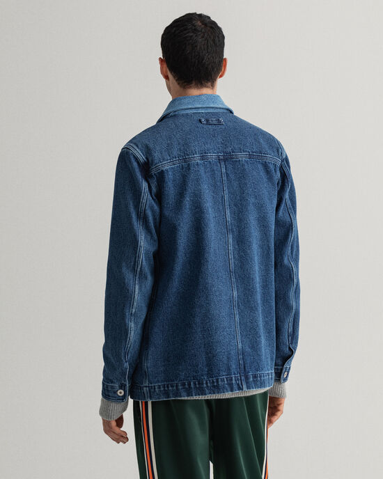 Contrast skjortjacka i denim