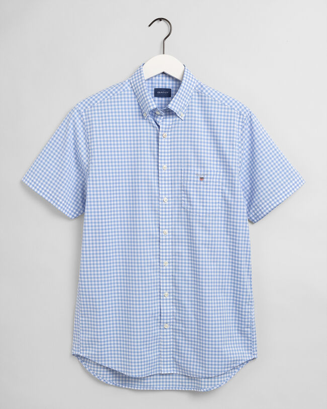 Regular Fit Kortärmad ginghamvävd poplinskjorta