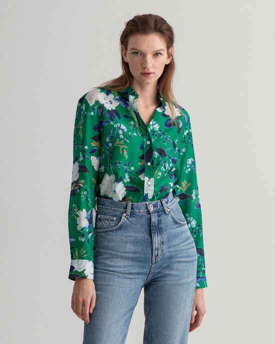 Rose mönstrad skjorta i bomull och silke