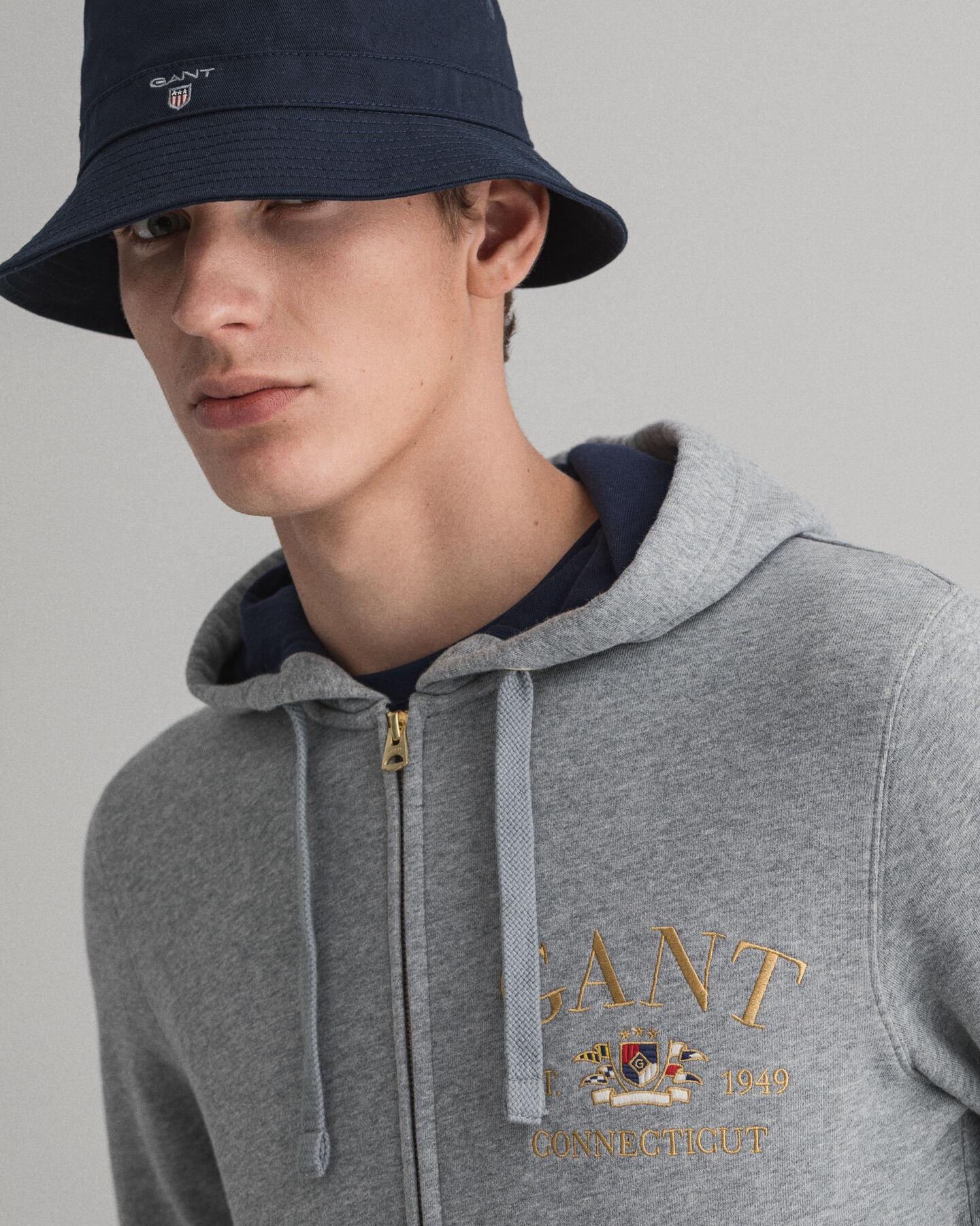 Flag Crest hoodie med hellång dragkedja