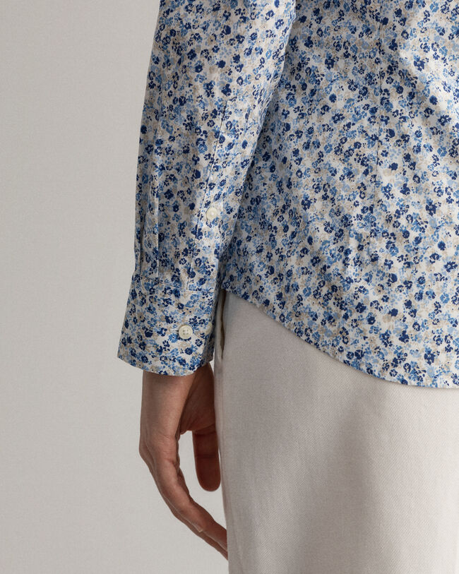 Micro Bouquet Print Stretch Broadcloth Shirt