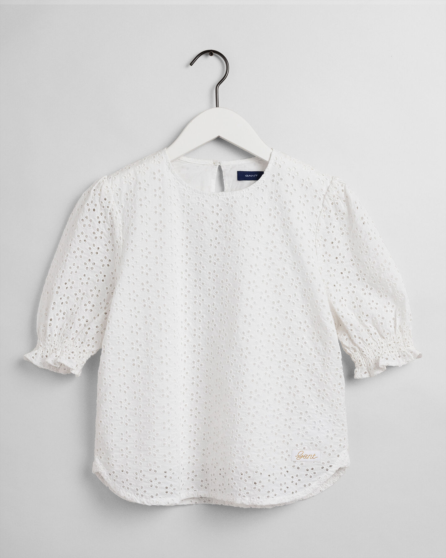 Teen Girls blus med broderie anglaise