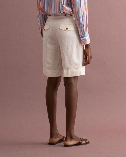 Långa shorts i linneblandning