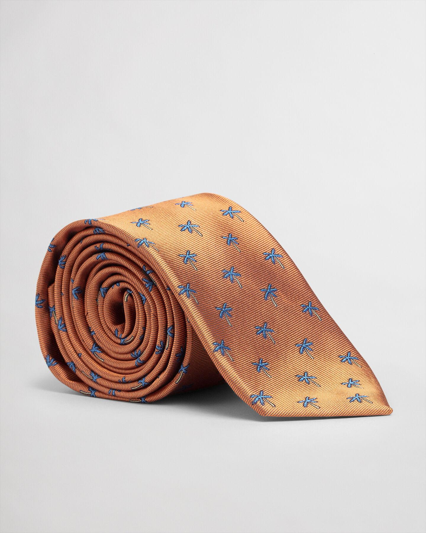 Palm Tree Print Silk Tie