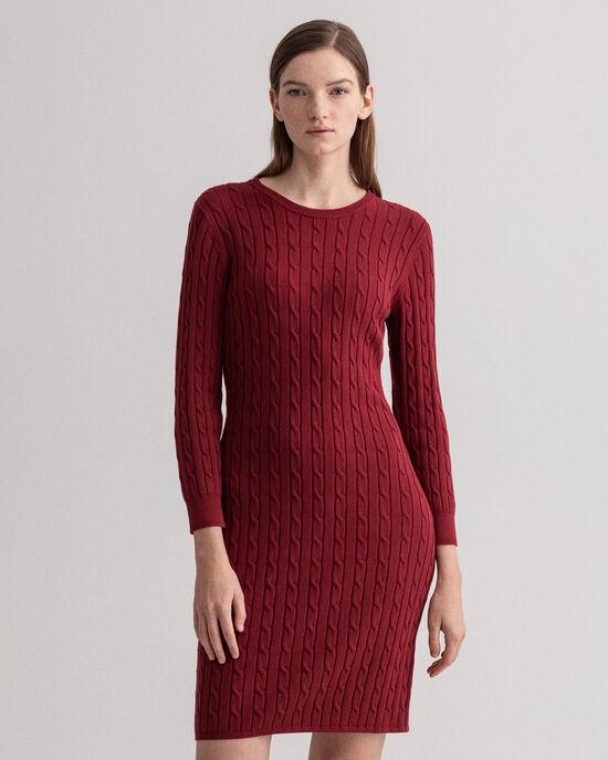 Flätstickad klänning i bomullsstretch