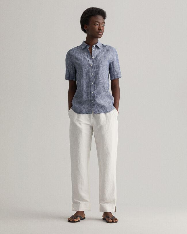 Kortärmad skjorta i linnechambray