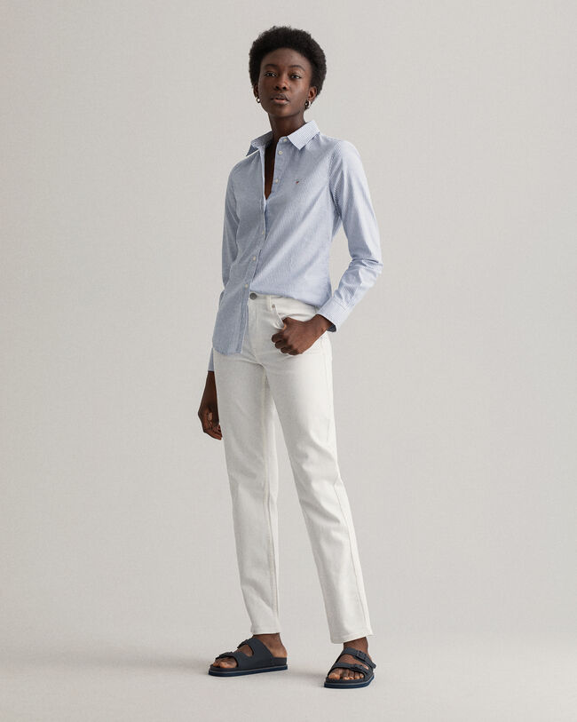 Oxfordskjorta med stretch och mellanbreda ränder