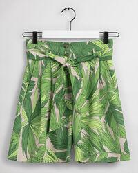Palm Breeze mönstrade shorts med hög midja och veck