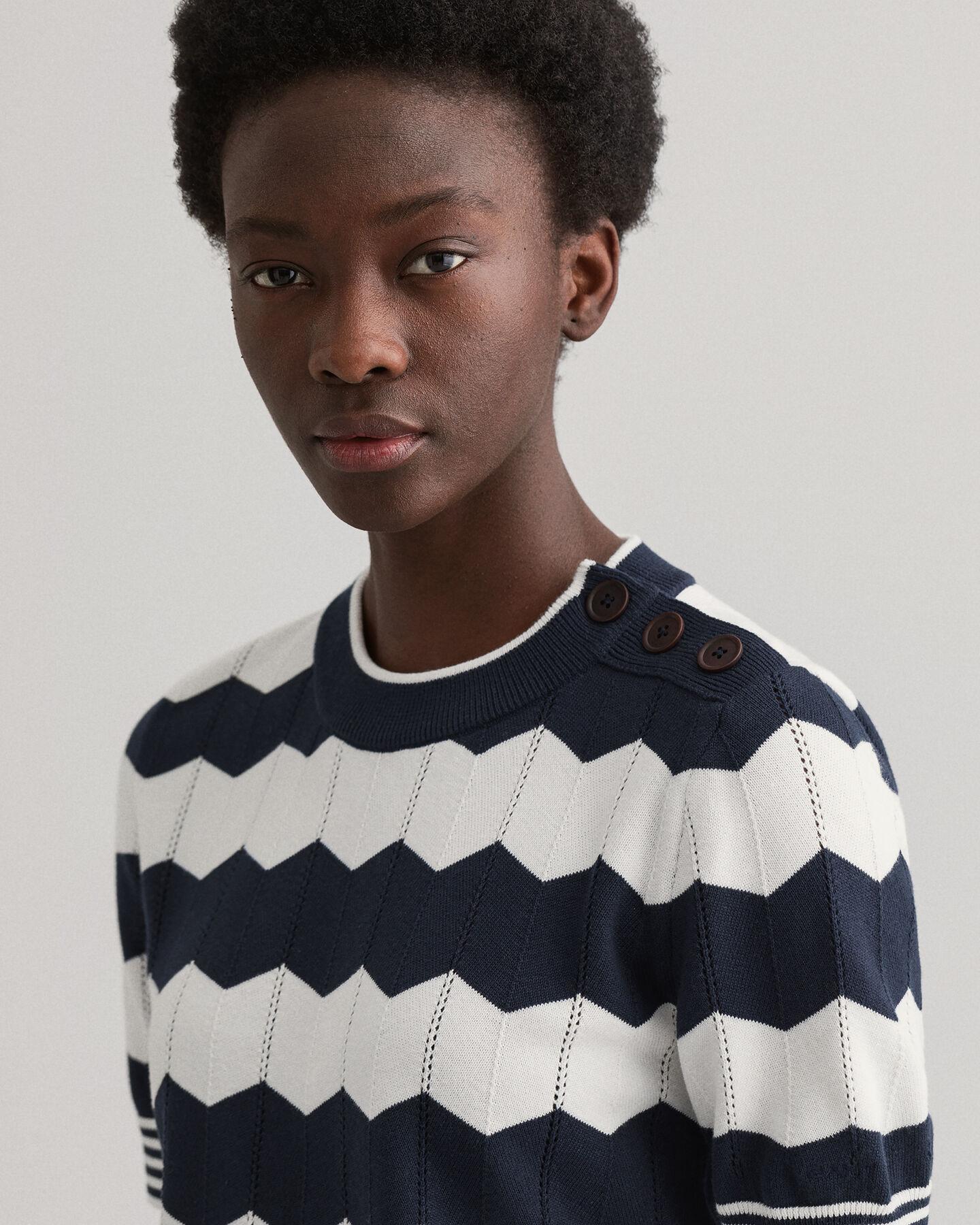 Zigzag tröja med rund halsringning