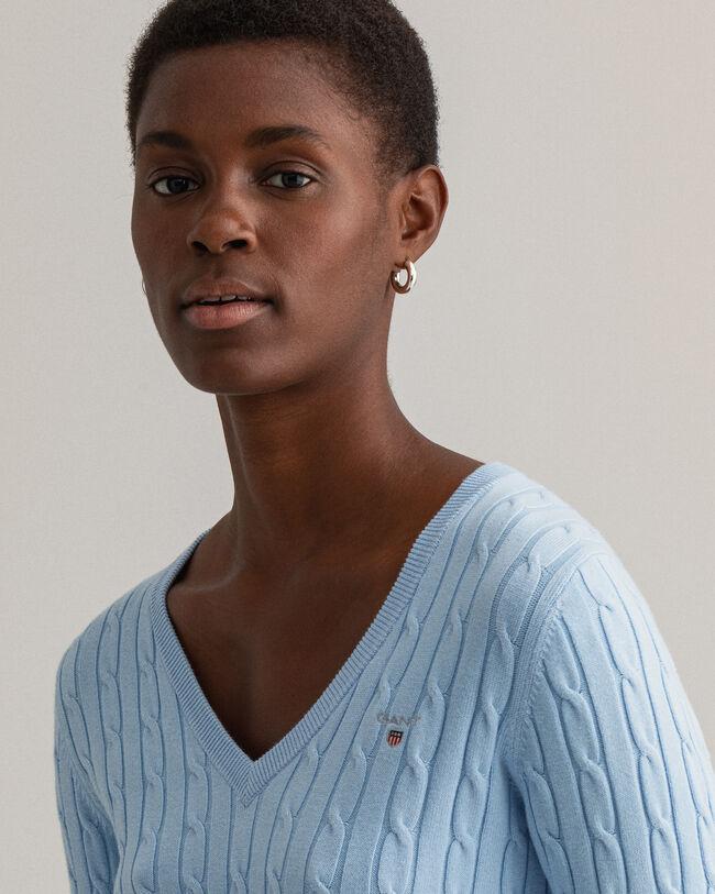 Flätstickad V-ringad tröja i bomullsstretch