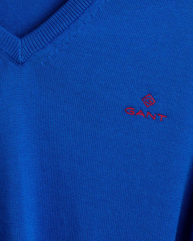 Stretch Cotton Contrast V-Neck Sweater