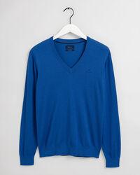 V-ringad tröja i bomulls- och silkesblandning