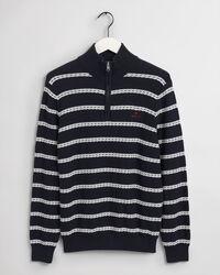 Texture Breton Stripe Half-Zip Sweater