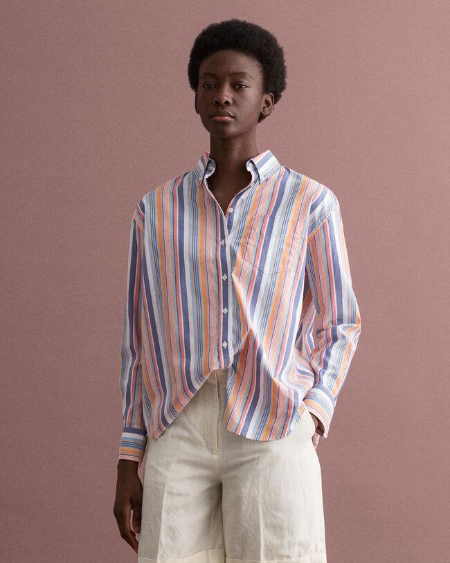 Pinpointvävd oxfordskjorta med ränder