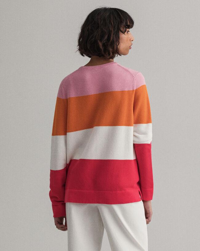 Randig tröja i bomullspiké med rund halsringning