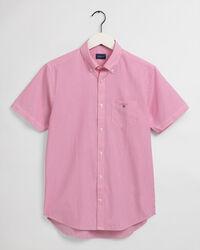 Regular Fit Short Sleeve Banker Stripe Broadcloth Shirt