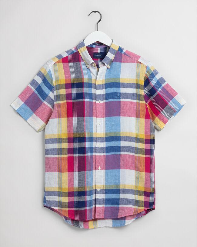 Regular fit kortärmad madrasrutig linneskjorta
